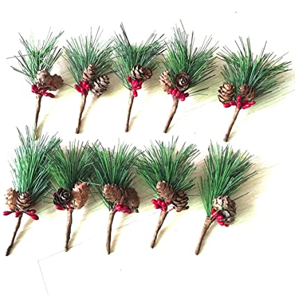 htmeing small artificial pine picks for christmas flower arrangements wreaths and holiday decorations 10 pcs - Christmas Flower Decorations