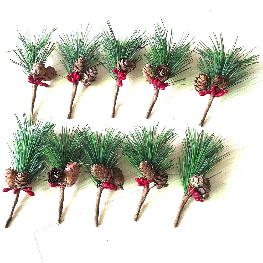 Htmeing Small Artificial Pine Picks for Christmas Flower Arrangements Wreaths and Holiday Decorations (10 pcs) by Htmeing