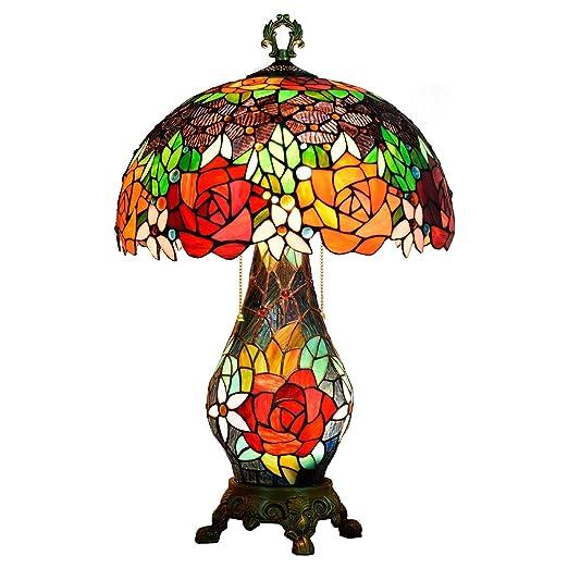 Lámpara de mesa Tiffany 26 pulgadas de alto 3 Cadena de tracción ...