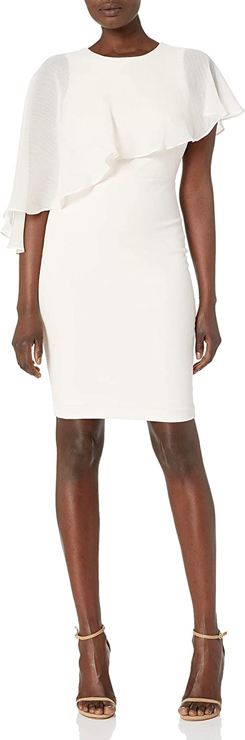 Calvin Klein Women's Chiffon Popover Cape Sheath Dress