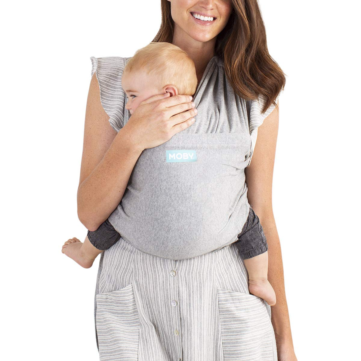 Moby Fit Baby Carrier Wrap Grey – Designed To Combine The Best Features Of A Baby Wrap and Baby Carrier In One – The Perfect Child Carrier – Great For Babywearing, Nursing, And Keeping Baby Close