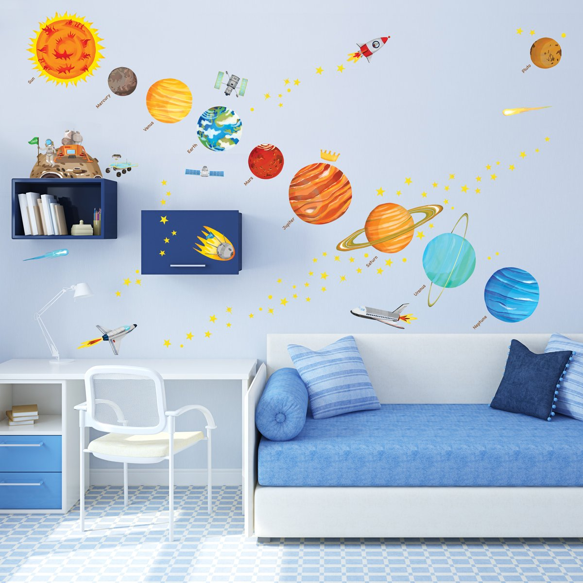 Amazon.com: Decowall DA 1501 The Solar System Kids Wall Stickers Wall Decals  Peel And Stick Removable Wall Stickers For Kids Nursery Bedroom Living Room  ...