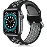 Witzon Compatible with Apple Watch Band 42mm 44mm Soft Silicone Waterproof Breathable Replacement Wristband Sport Bands for i