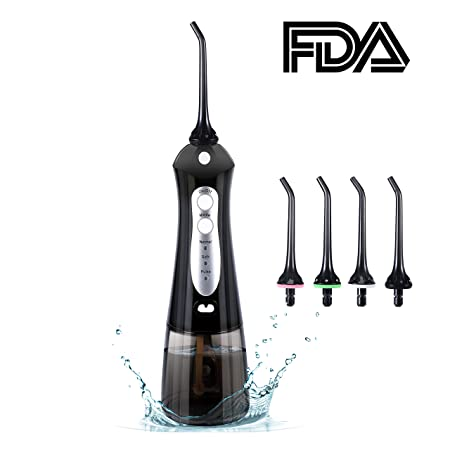 Cordless Water Flosser,Portable Rechargeable IPX7 Waterproof Dental Flosser with 3 Modes, Hydro Floss Oral Irrigator with Cleanable Water Tank for Home and Travel, Braces Bridges Care