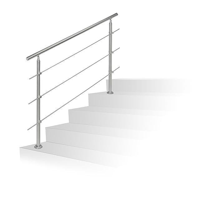 Barandilla para escalera Relaxdays de acero inoxidable, pasamanos para interior y exterior, 1,5 m de largo, 2 postes, 3 travesaños, plateada