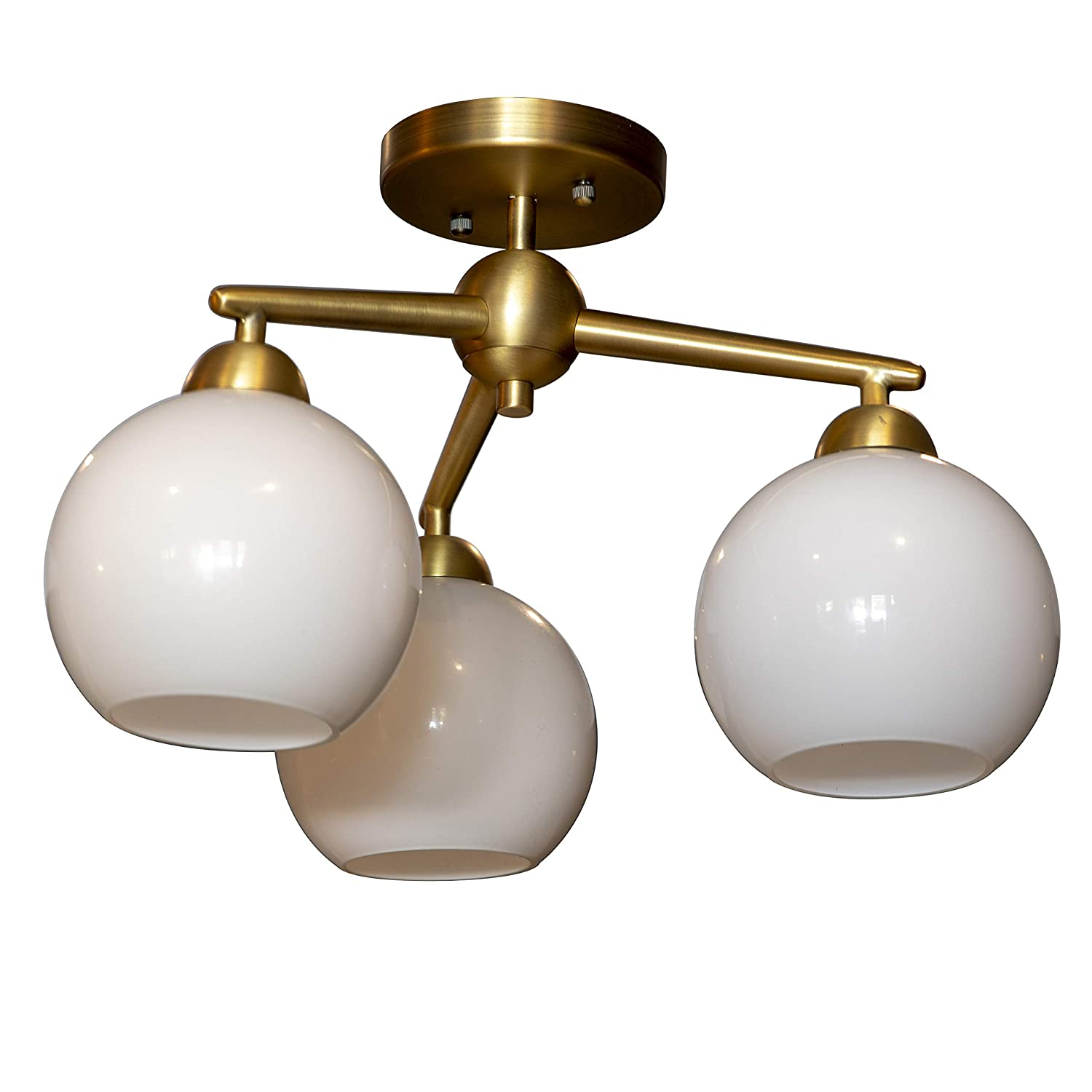 Décor Therapy CH1910 Michael Milk Glass 3 Semi Flush Mount Ceiling Light, Antique Brass