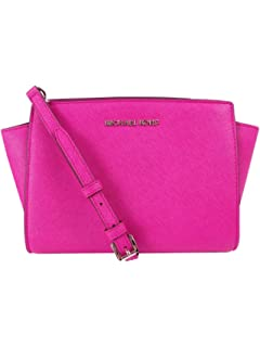 MICHAEL Michael Kors Womens Selma Medium Messenger Bag, Fuchsia, One Size