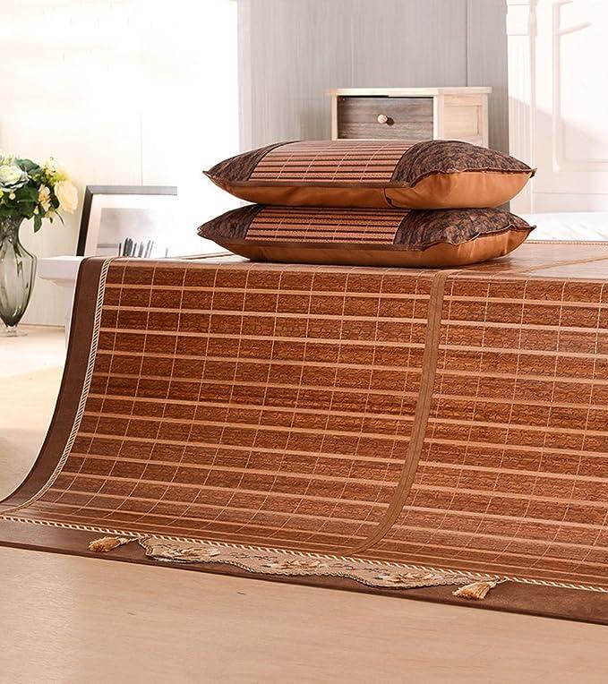 Utilisation double face tapis de lit --- Tapis en bambou double face Tapis en bois Tapis de conditionnement d'air pliable 1.5 étudiants Bambou et rotin Tapis d'été double face / tapis en bambou Tapis de c