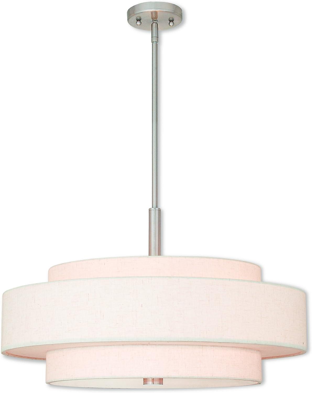 Brushed Nickel Livex Lighting 52138-91 Meridian 5 Light Pendant