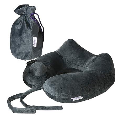 Almohada de viaje para soporte del cuello, ligera, se infla ...