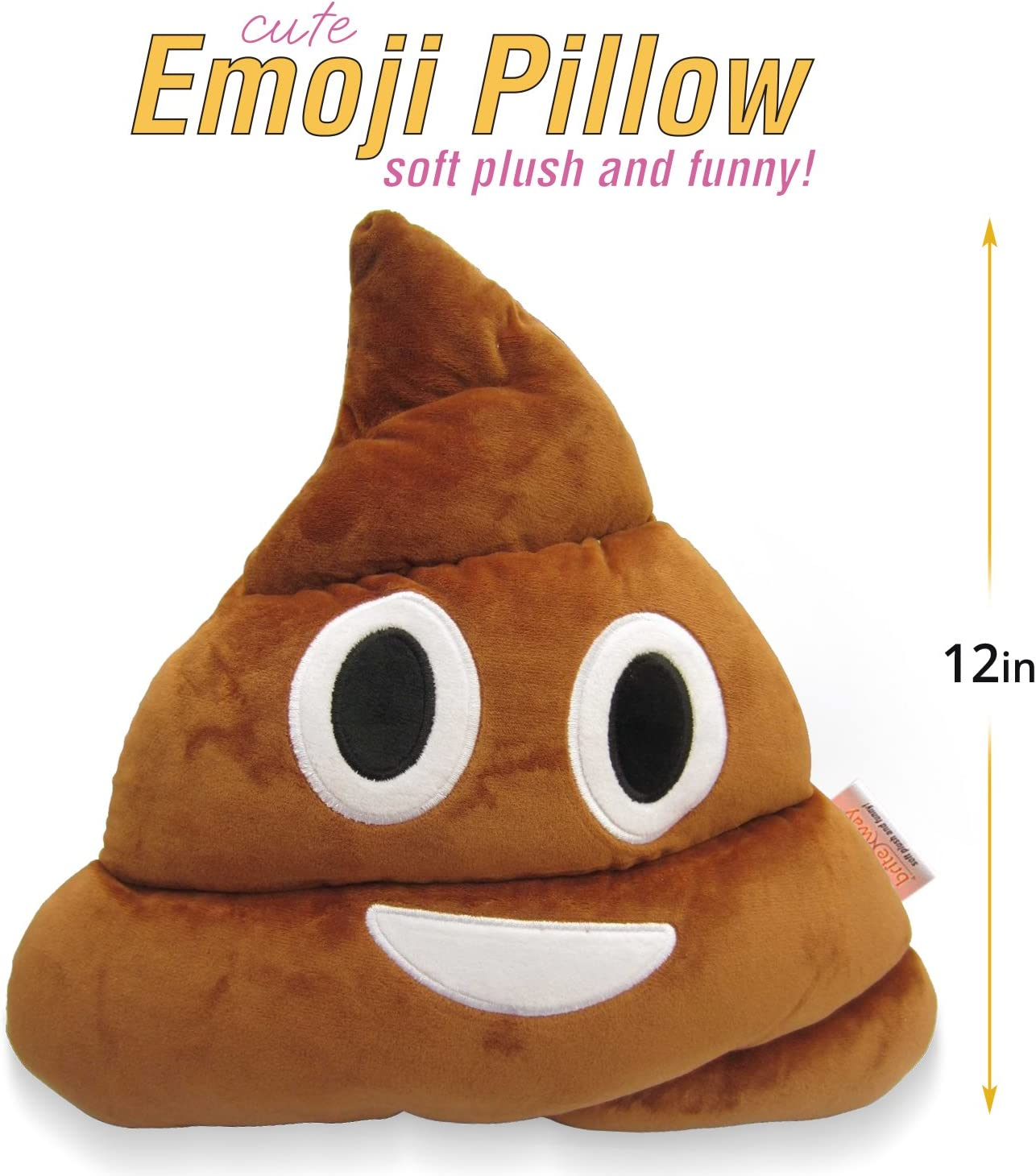 """Emoji Cute Pillow Poop Face - Cartoon Brown Stuffed Soft Plush Very Comfortable and Funny - Perfect Fun Item for all Ages 14"""" (35cm): Home & Kitchen"""