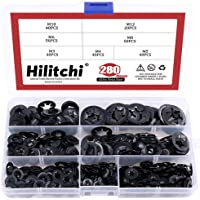Hilitchi 280Pcs 7Sizes Black Oxide Internal Tooth Starlock Washers Push On Speed Clips Locking Washers Assortment Kit