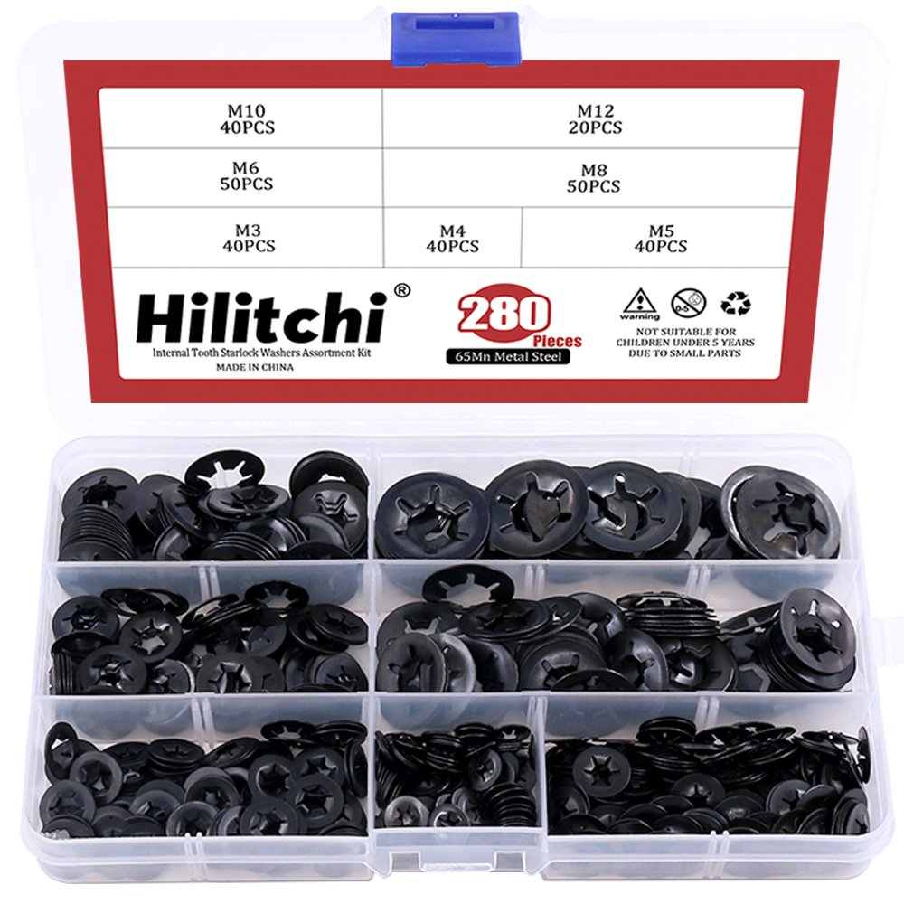 Hilitchi [7-Size] Internal Tooth Starlock Washers Quick Speed Locking Washers Push On Speed Clips Fasteners Assortment Kit, Black Oxide Finish - 280 Piece