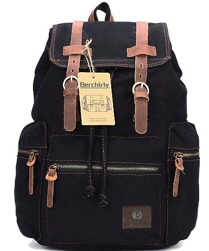 b6215a5dca Berchirly Casual Unisex Vintage Canvas Laptop Backpack Rucksack Travel  Bookbag Black