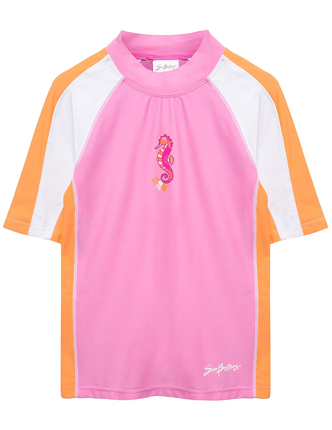SunBusters Girls Two-Piece Short Sleeve Swimsuit Set Sun Protection UPF 50