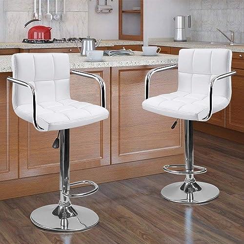 2 Swivel Bar Stool w/ Arm PU Leather Modern Adjustable Hydraulic Barstool White