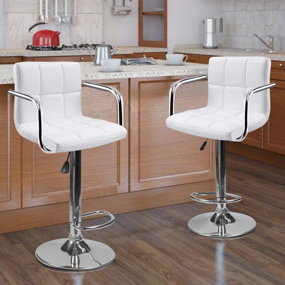 2 Swivel Bar Stool w Arm PU Leather Modern Adjustable Hydraulic Barstool White
