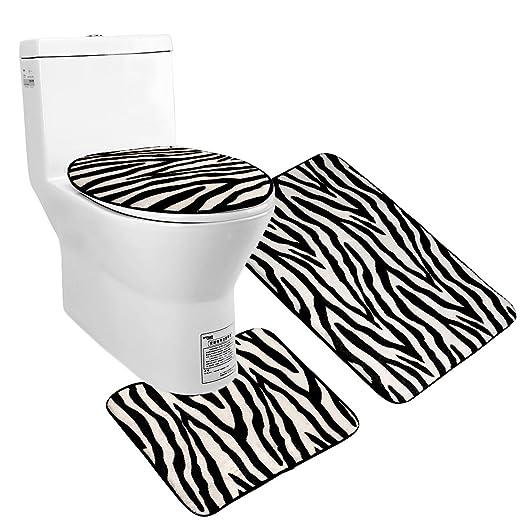 Uomere 3 Piece Black White Zebra Bathroom Mat Set Contour Rug