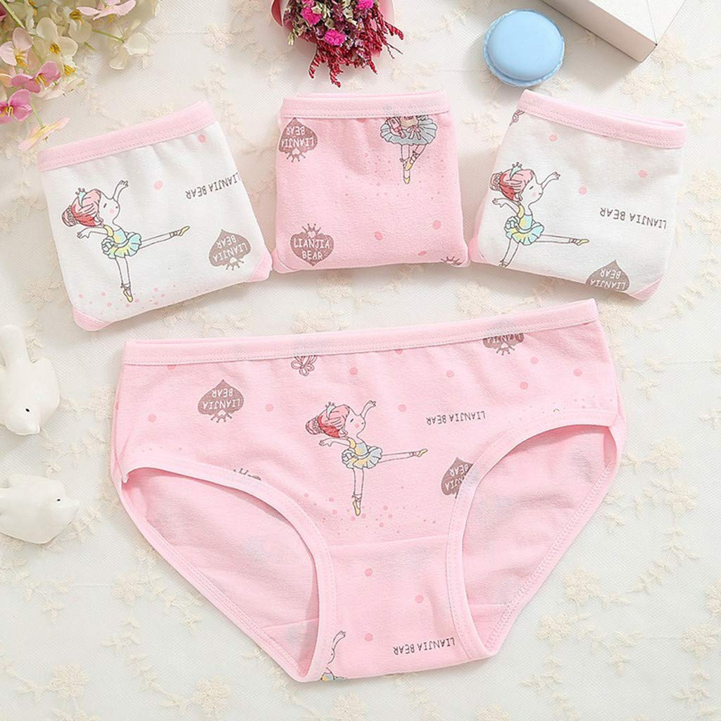 H.eternal Baby Girl Short Pants Underwear Briefs Reusable Potty Training Pants Pack of 4 Elastic Waist brifes Cotton Boxer Nappy Cover Knickers Underpants Cartoon Dancing Girl Print