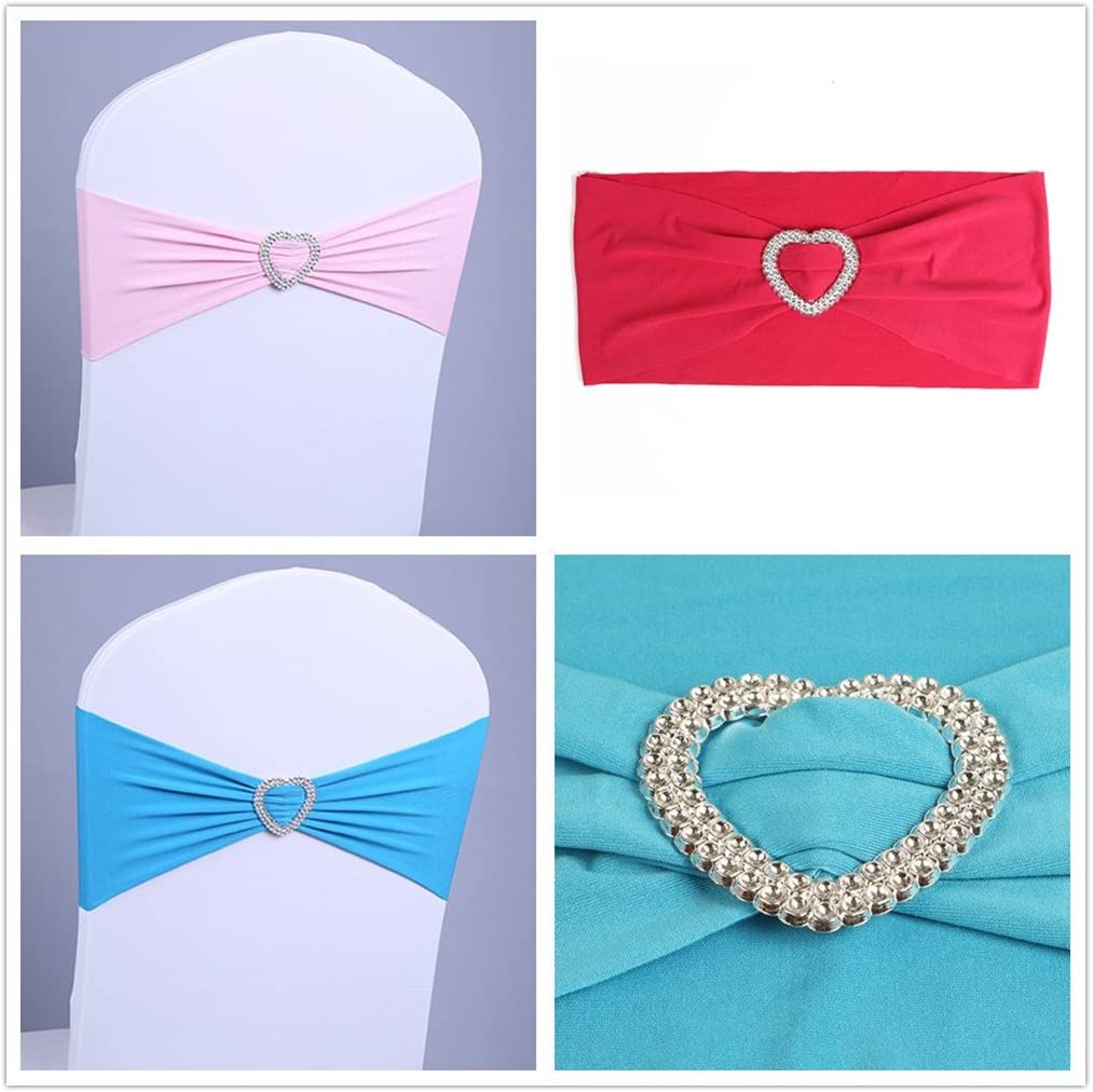 unho 50PCS Stretch Spandex Chair Covers Band Love-heart Shape Buckle Bow Slider For Wedding Home Party Decorations