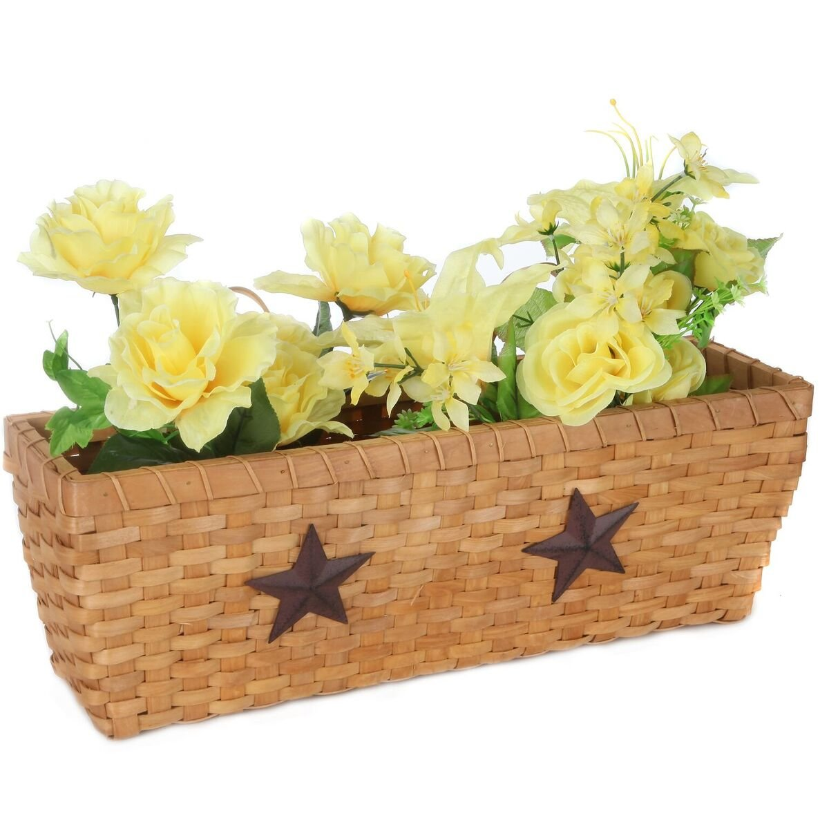 Trenton Gifts Versatile Woven Wood Country Wall Basket With 2 Stars | Strong and Lightweight