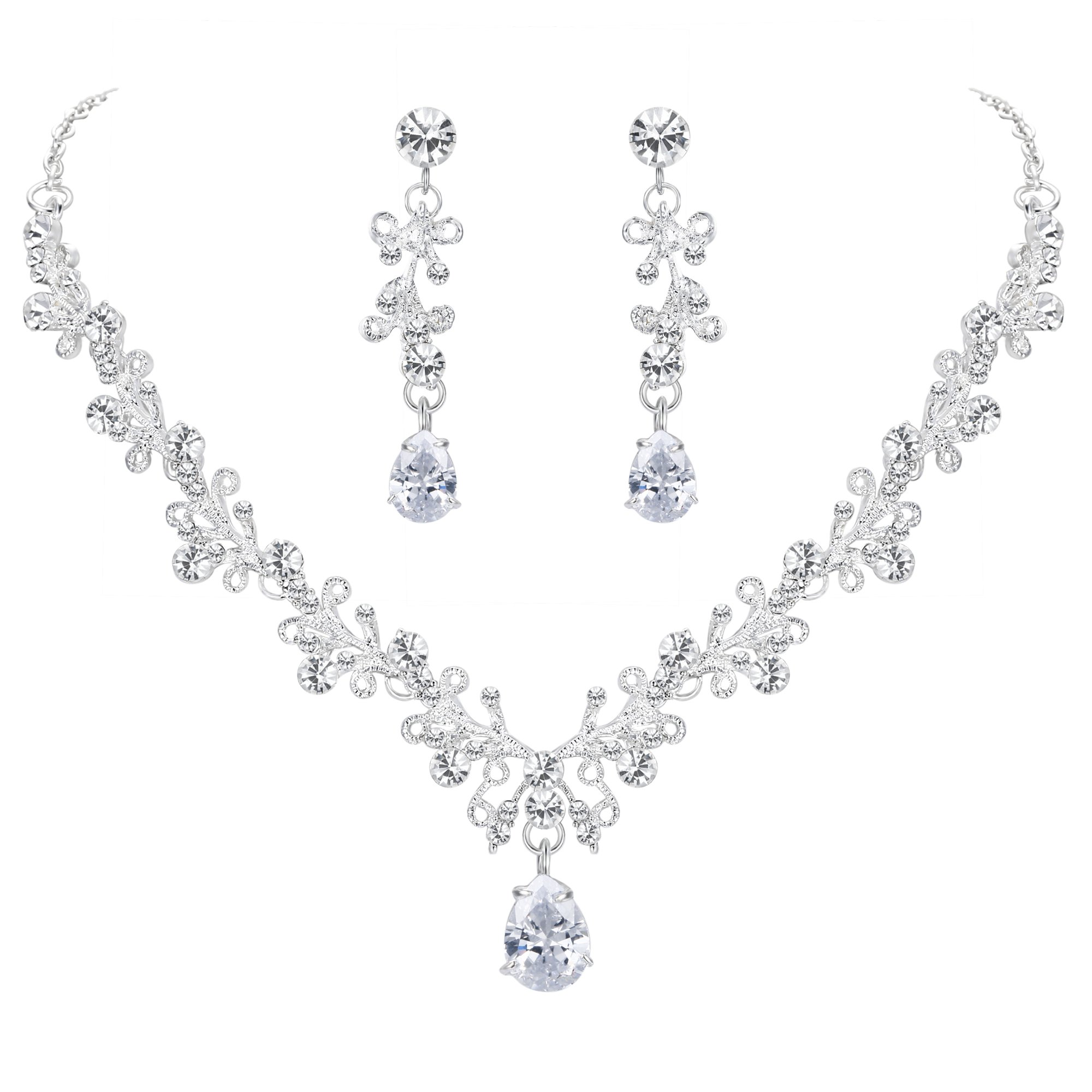 BriLove Wedding Bridal Necklace Earrings Jewelry Set CZ Crystal Leaf Vine Floral Scroll Teardrop V-Necklace Pierced Earrings Set Clear Silver-Tone