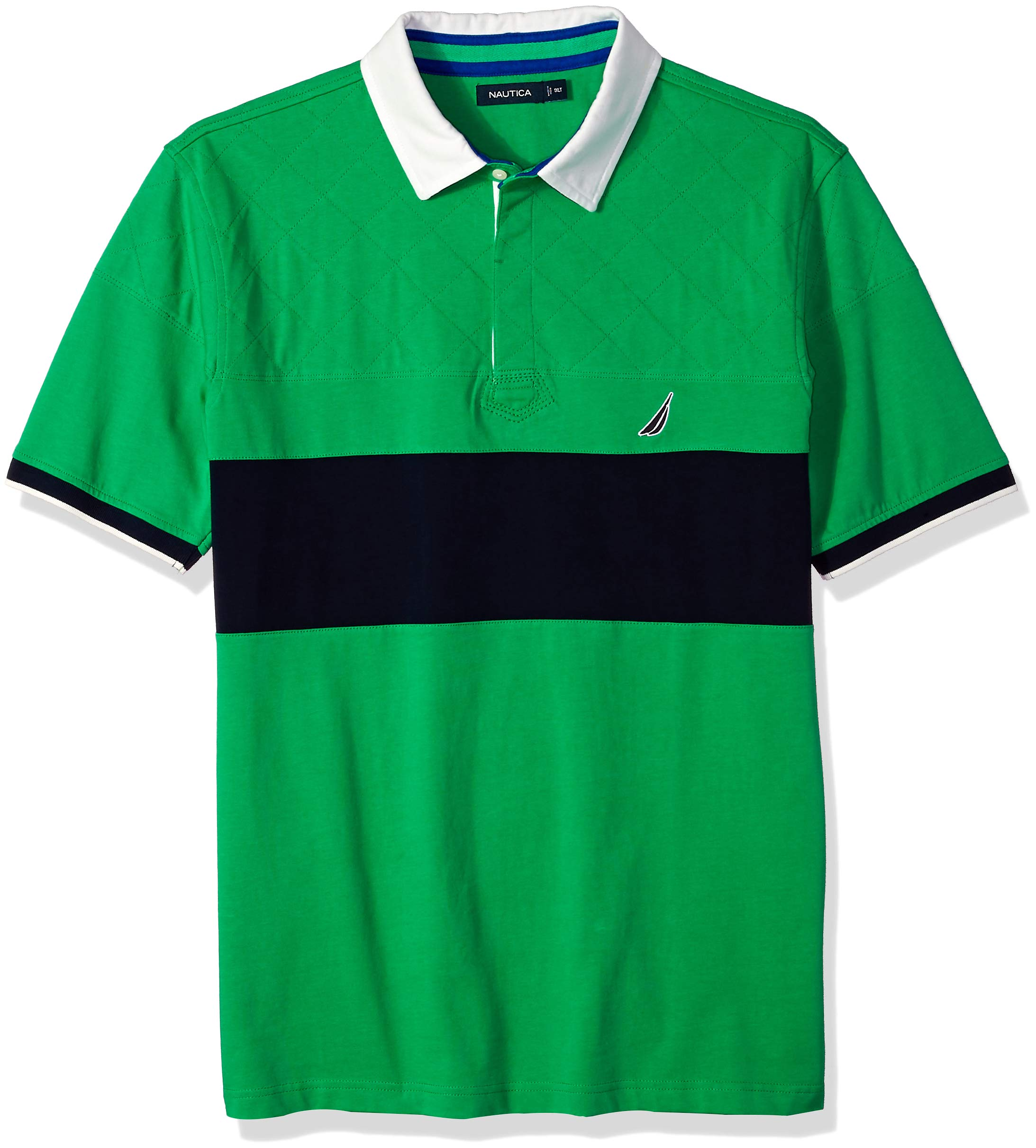 Nautica Men's Big and Tall Short Sleeve Quilted Classic Fit Polo Shirt, Bright Green 2XLT