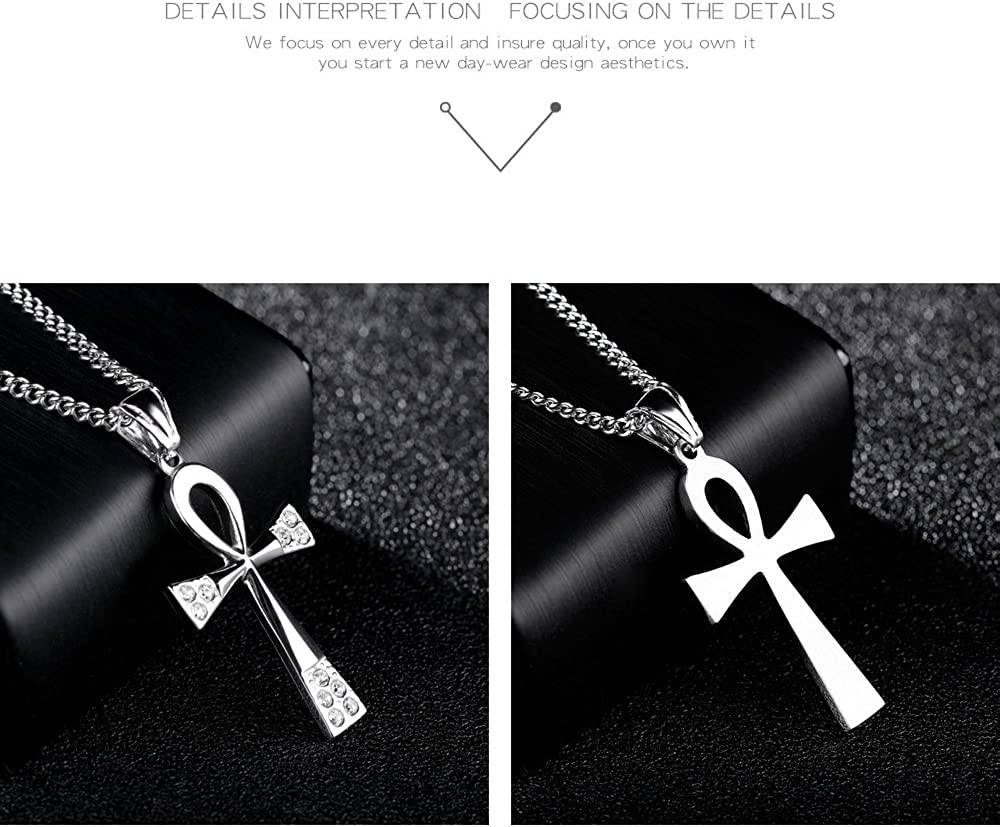 Vanski Mens Stainless Steel Coptic Ankh Cross Pendant Necklace with Cubic Zirconia Religious Jewelry