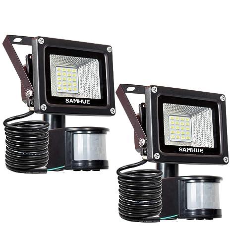 10W Foco LED con Sensor Movimiento Foco Exterior Led Con Sensor SAMHUE Proyector LED Exterior Resistente
