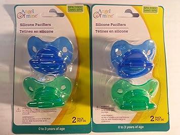 Amazon.com: Silicona Chupete 0 – 3 Años 4-Pack sin BPA Azul ...