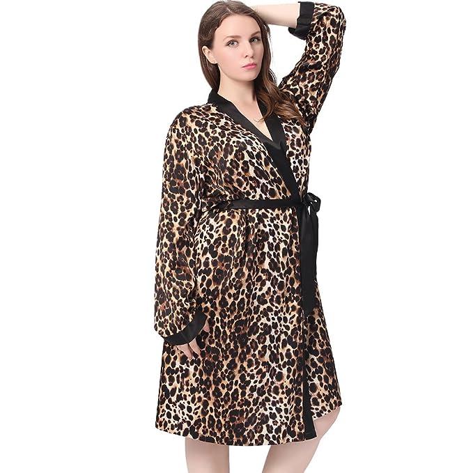 Lilysilk Bata del Leopardo de Media Longitud de Seda Tallas Grandes Leopardo 3X: Amazon.es: Ropa y accesorios