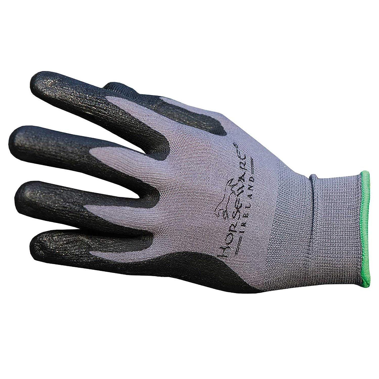 Horseware アイルランドコーティング手袋 ドットグリップ グレー/ブラック 8   B01K371E7C