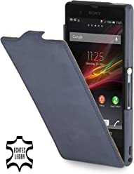 StilGut - Custodia ultra sottile in pelle per Google Sony Xperia Z, Blu oceano