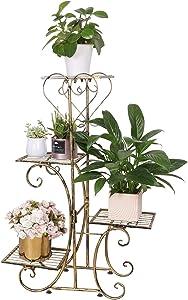 unho 4 Tier Wrought Iron Plants Stand Outdoor Metal Flower Pot Planters Rack Indoor European Style Plant Shelf Garden Decor, Brass