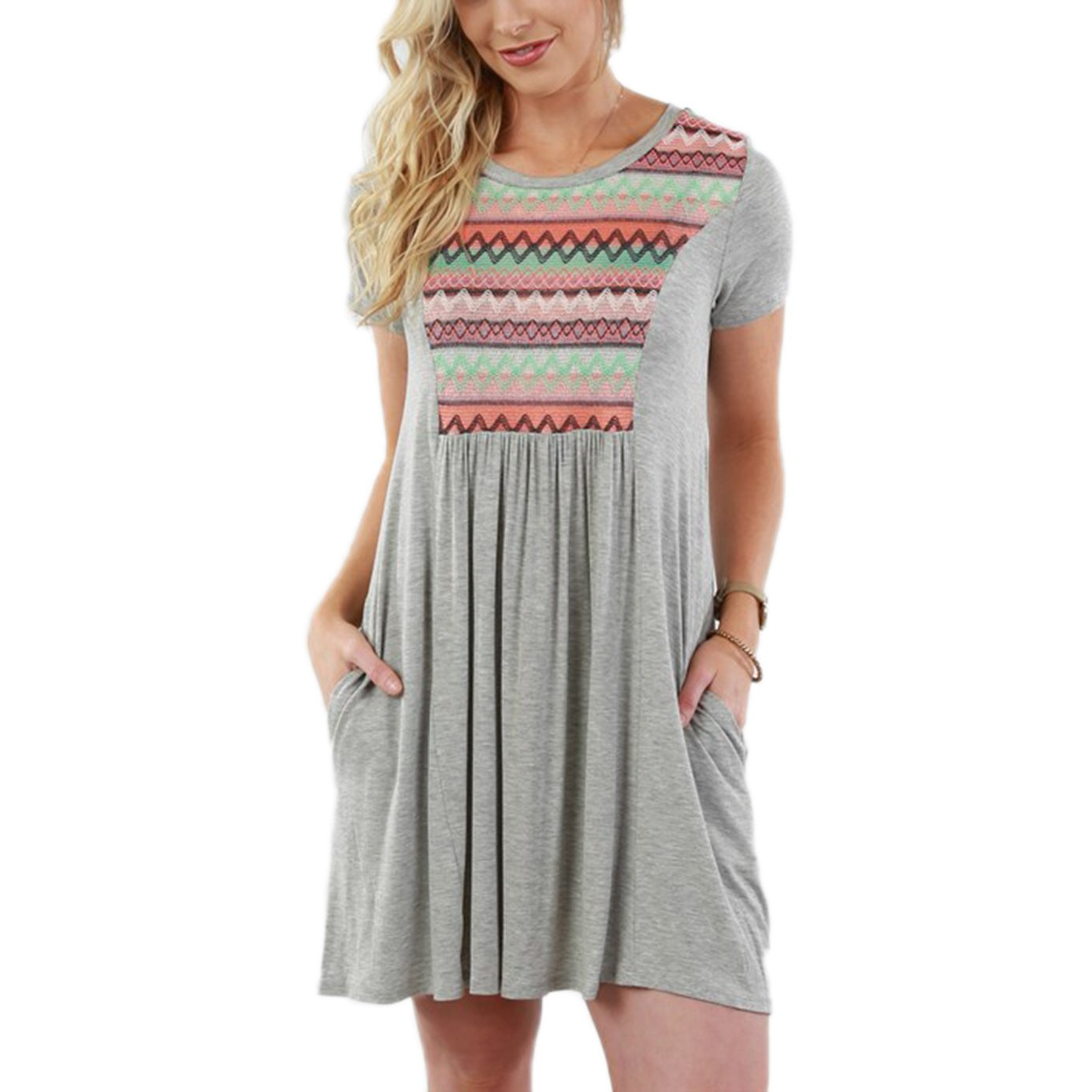 Summer Mae Women Plus Size Ethnic Printed Splicing Casual Pocket Dress