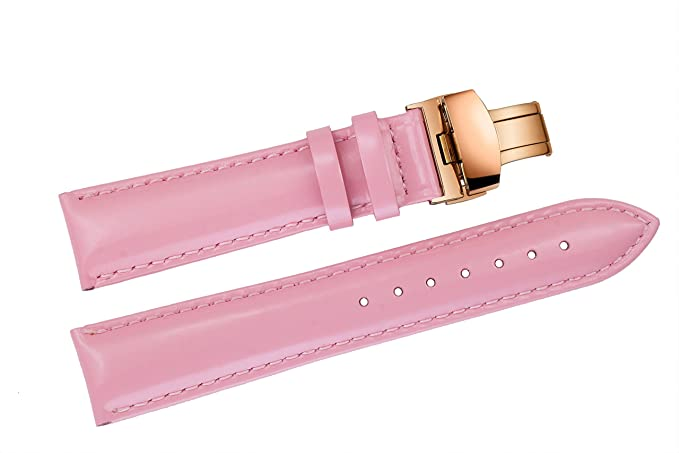 74f7c9705 Image Unavailable. Image not available for. Colour: 12mm Women's Pink Shiny Leather  Watch Bands / Straps ...