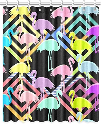 Artsadd Unique Debora Custom Home Decor Polyester Window Curtain Blackout Curtains for Bedroom and Living Room with Pink Flamingos