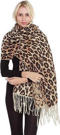 Women Warm Leopard Print Scarf Pashmina Soft Stole Lightweight Long Shawls Wraps