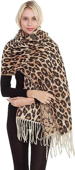 Leopard Print Scarf Women Ladies Winter Shawl Pashmina Stole Blanket Wrap Animal