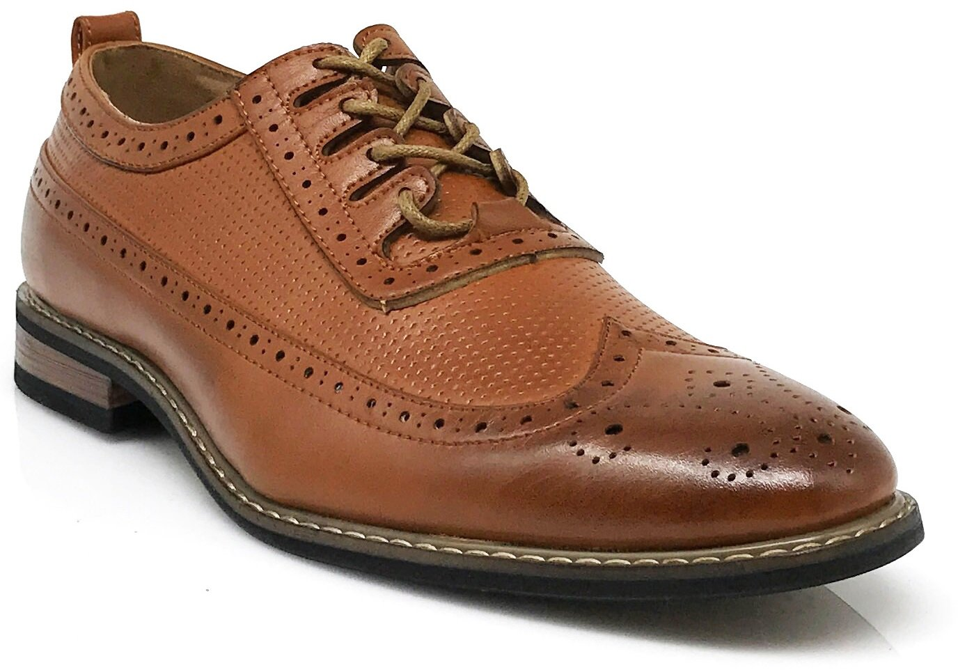 Men's Classic Italy Modern Oxford Wingtip Captoe 2-Tone Lace Dress Shoes (13, WOOD2_Brown)