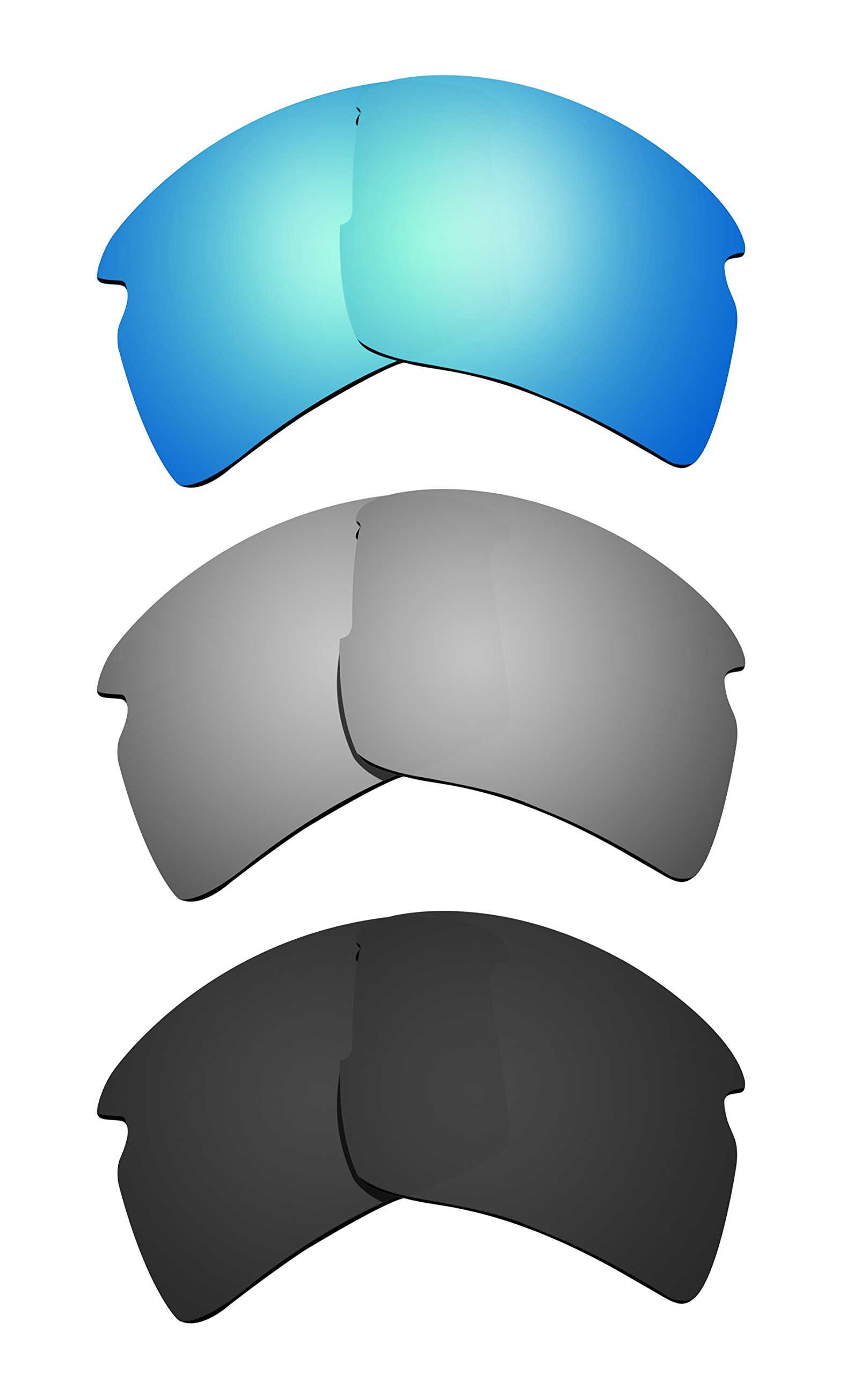 Littlebird4 3 Pairs 1.5mm Polarized Replacement Lenses for Oakley Flak 2.0 XL Sunglasses - Multiple Options (Black+Silver+Ice Blue)