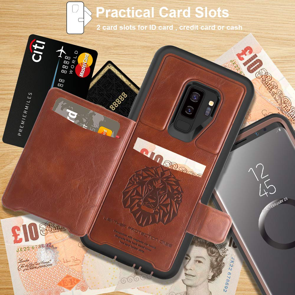 SXcase Samsung Galaxy S9 Plus Wallet Case, Leather Soft Shockproof Protective Rugged Case for SM Galaxy S9+(6.2 inch) for Men [Brown]