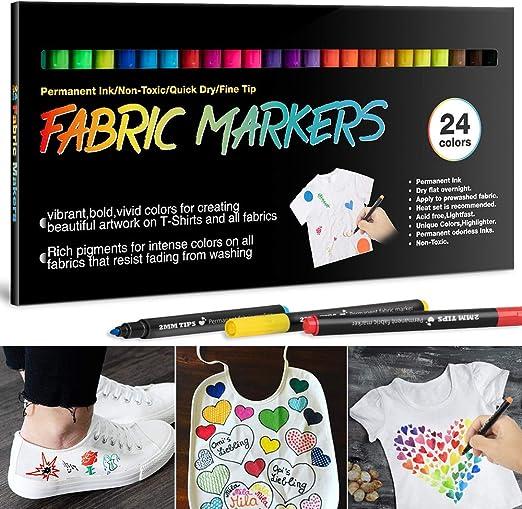 24 Textilstifte Waschmaschinenfest, APOGO Textilmarker Stoffmalstifte Waschfest, Permanent Stoffmalfarben Stifte für T Shirt, Jutebeutel, Stoffbeutel