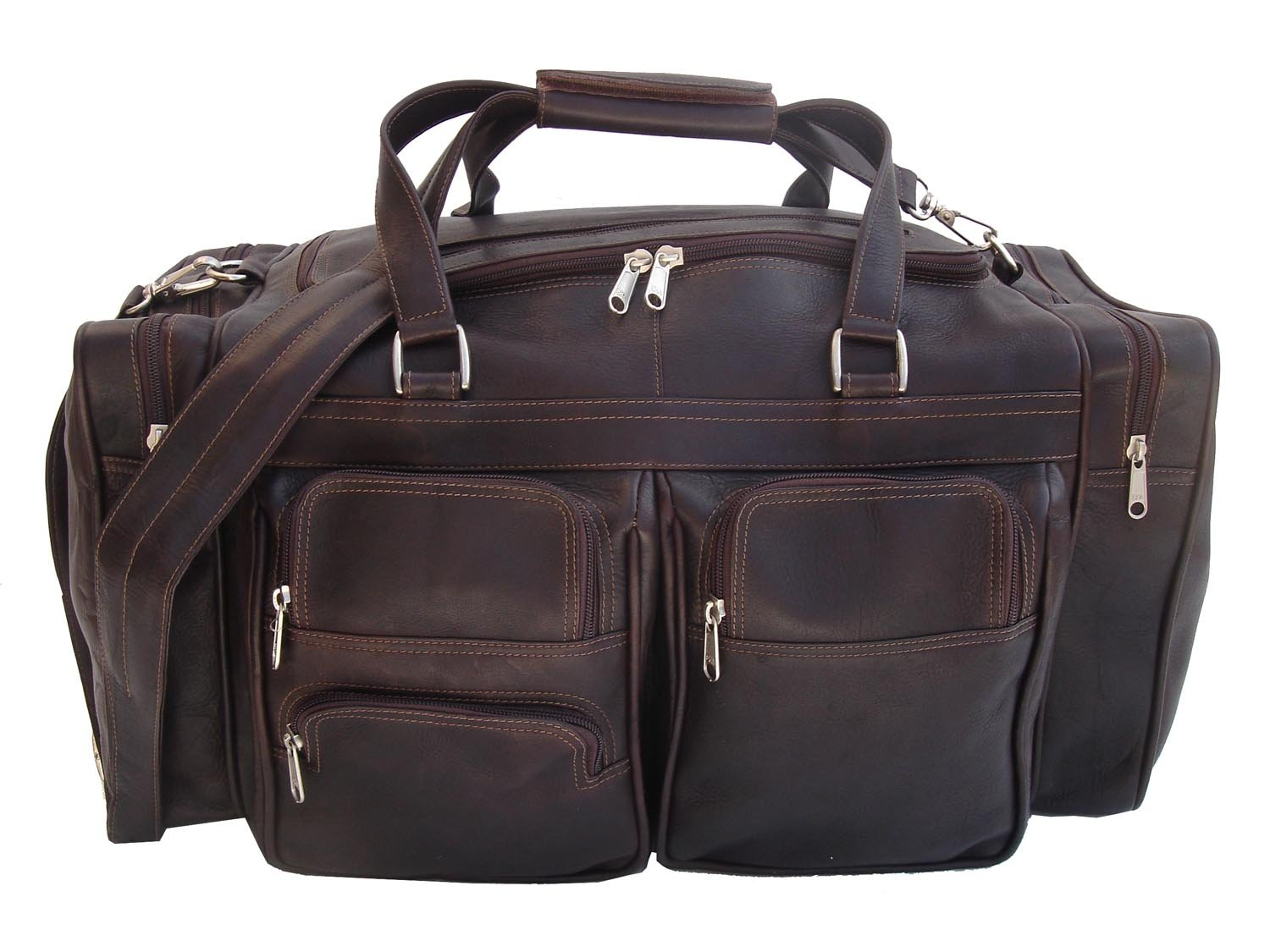 Piel Leather 20'' Duffel Bag with Pockets in Chocolate