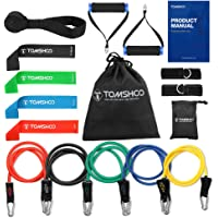 TOMSHOO Resistance Bands 17Pcs Set Workout Fintess Exercise Rehab Bands Loop Bands Tube Bands Door Anchor Ankle Straps Cushioned Handles with Carry Bags for Home Gym Travel