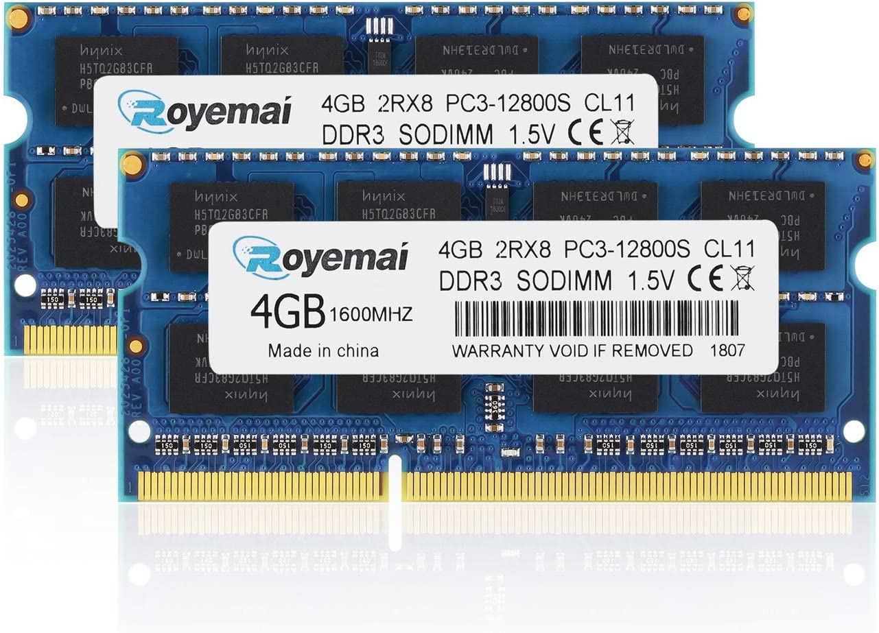 PC3-12800, DDR3 1600, DDR3 RAM ROYEMAI 8GB Kit (2x4GB) PC3 12800S 8GB Kit DDR3 Sodimm 2Rx8 1.5V CL11 204-pin 1600mhz Notebook RAM Memory for Laptop