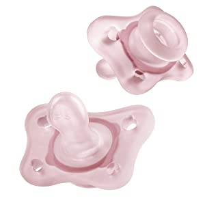 Chicco PhysioForma Silicone Mini Pacifier in Pink for Babies 0-2m, Orthodontic Nipple, BPA-Free, 2-Count in Sterilizing Case