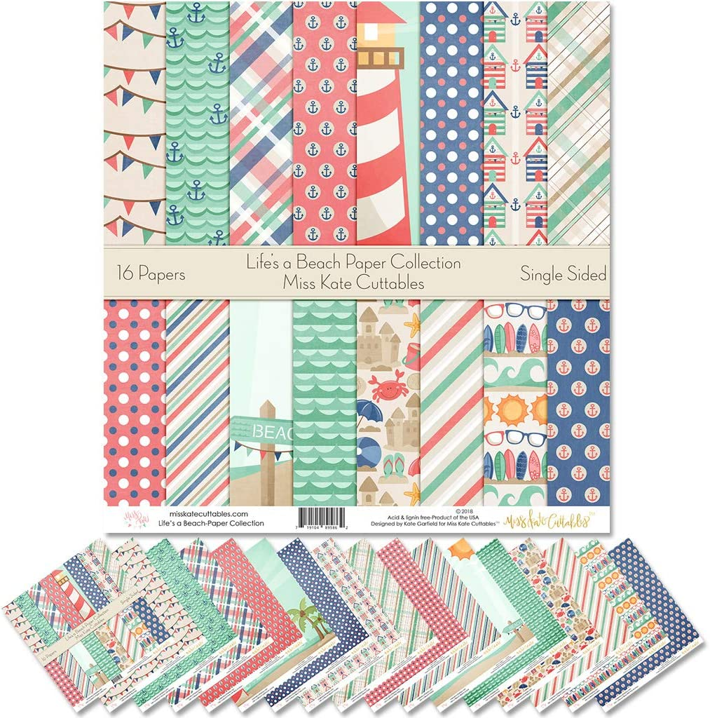 Scrapbook Premium Specialty Paper Single-Sided 12x12 Collection Includes 16 Sheets by Miss Kate Cuttables Lifes a Beach Pattern Paper Pack