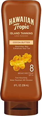 Hawaiian Tropic Island Tanning Reef Friendly Lotion Sunscreen with Cocoa Butter,