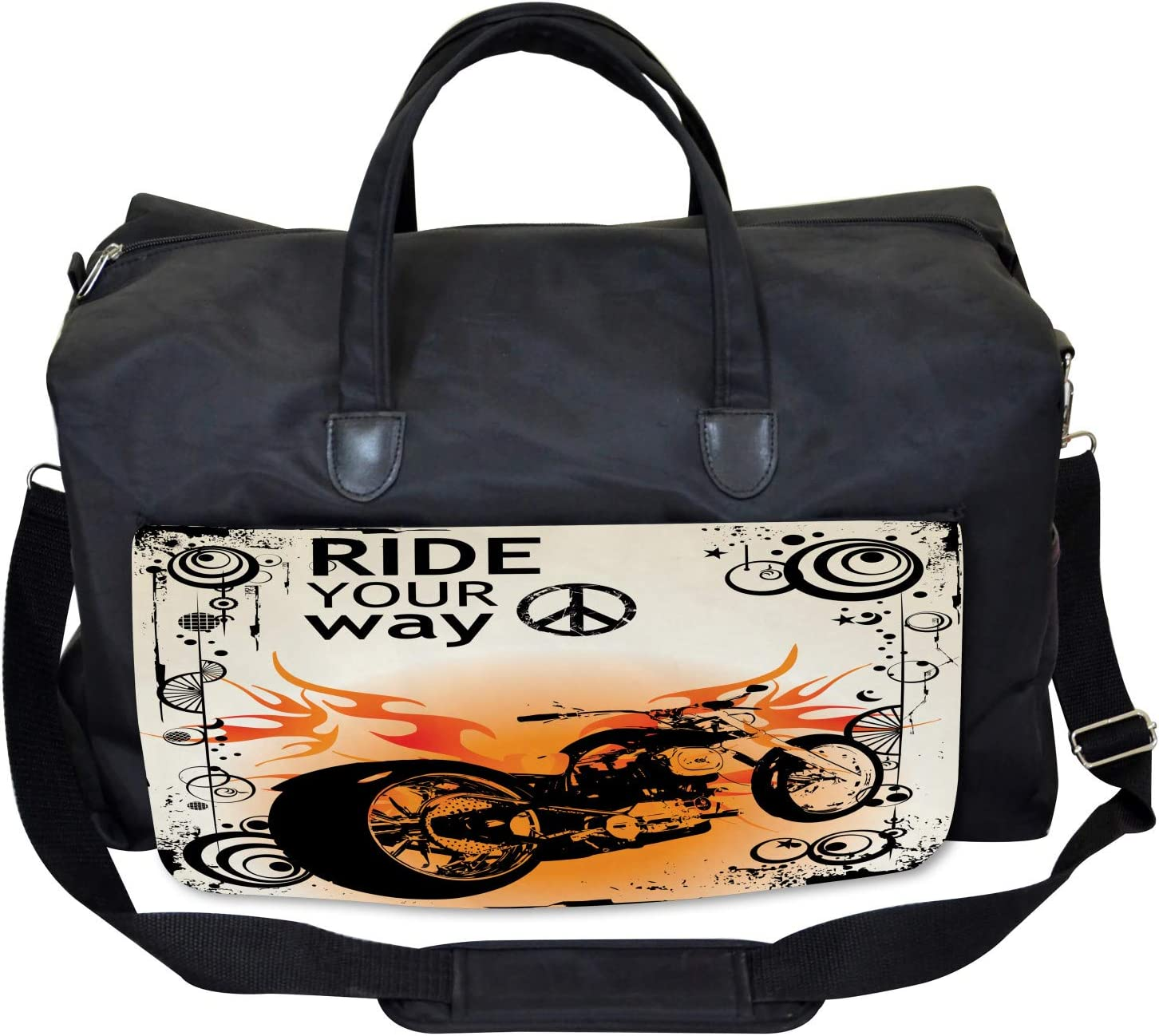 Large Weekender Carry-on Freedom Theme Sign Ambesonne Orange Black Gym Bag